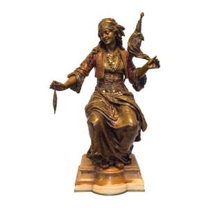 A Fine Quality Polychrome Bronze Sculpture of an Orientalist Female by Émile Guillemin