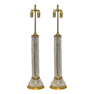 A Fine Pair of Large Cut Crystal Table Lamps