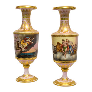 Pair of Exceptional Austrian Royal Vienna Ormolu Mounted Porcelain Vase