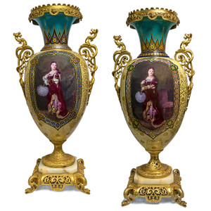 A Fine Quality Exceptional and Rare Pair of Gilt Bronze Mounted Painted Porcelain Ground Vase in Orientalist Motif with Onyx Plinth Base