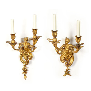 A Fine Quality Pair of Louis XV Style Gilt Bronze Two-Light Figural Sconces