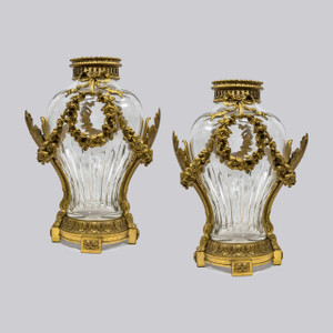 A Fine Quality Pair of Louis XVI Style Gilt Bronze Mounted Cut-Glass Vases by Henri Vian