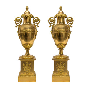 A Fine Pair of Empire Gilt Bronze Cassoulets