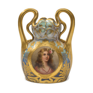 A Fine Quality Royal Vienna Porcelain Hand Painted Portrait Vase Signed 'Wagner'
