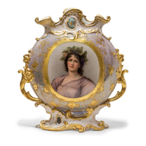 A Fine Quality Royal Vienna Porcelain Hand Painted Portrait Vase by 'Wagner'
