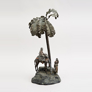 A Fine Austrian Cold-Painted Bronze Figural Sculpture Depicting Rider on a camel Fetching Water