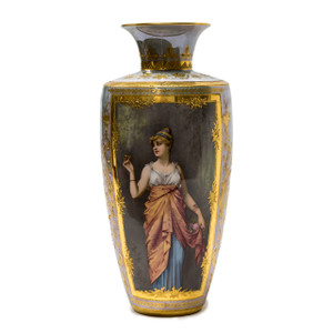 A Fine Quality Gilt-Mounted  Royal Vienna Porcelain Hand Painted Portrait Vase