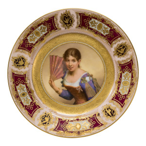 A Fine Quality Royal Vienna Porcelain Gilded Portrait Plate