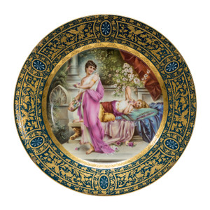 A Fine Quality Royal Vienna Porcelain Gilded Cabinet Plate Depicting Two Beauties in the Garden