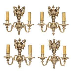 Set of Four Silvered Bronze Two-Light Sconces