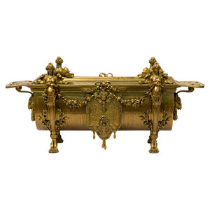 An Elegant French Neoclassical Gilt Bronze Jardiniere Centerpiece
