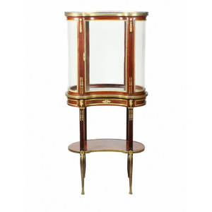 Gilt Bronze Mounted Louis XVI Style Vitrine with Rouge Marble Top