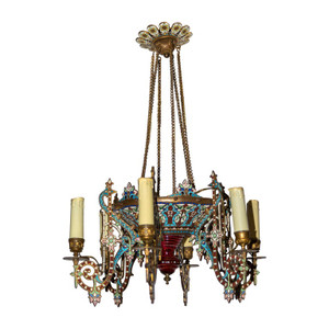 An Unusual and Fine Quality Moorish Style Gilt and Enamel Decorated Six-Light Chandelier
