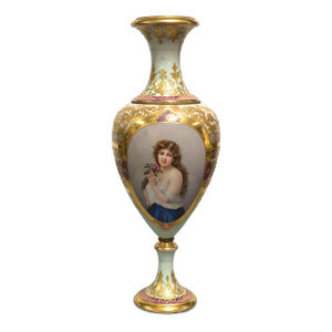 An Exquisite Quality Royal Vienna Porcelain Portrait Vase