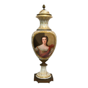 A Fine Quality Sèvres Ormolu-mounted Porcelain Portrait Vase and Cover