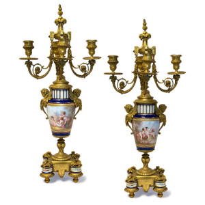 Pair of Four-branch Gilt Bronze and Jeweled Cobalt Blue Ground Sèvres style Porcelain Candelabras