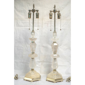 Pair of Rock Crystal Candlestick Form Table Lamps