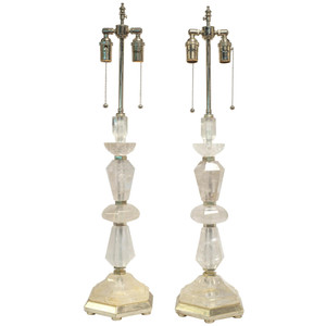 A Fine Pair of Rock Crystal Candlestick Form Table Lamps
