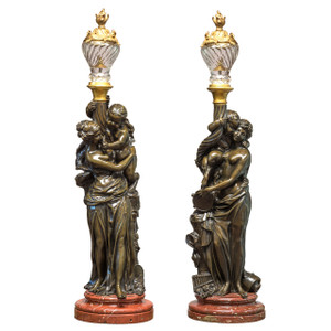Important Pair of Patinated Bronze Figural Sculpture Torcheres After Albert Carrier-Belleuse