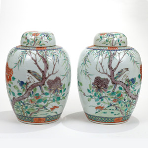 A Fine Pair of Chinese Porcelain Famille Verte Covered Jars