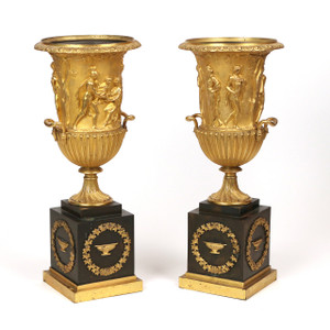 A Fine Quality Pair of Gilt Bronze Neoclassical Urns