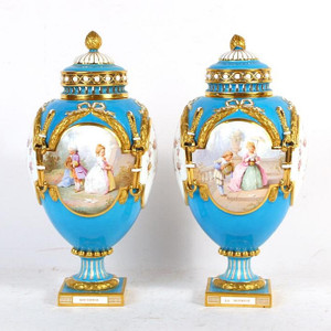 Fine Quality Pair of Mintons Blue Gilt Ground Porcelain Urns