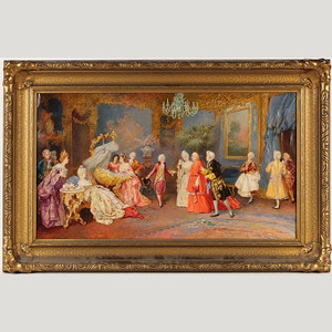 Fine Quality Italian Painting of the Cardinal's Visit by Victor Cacciarelli