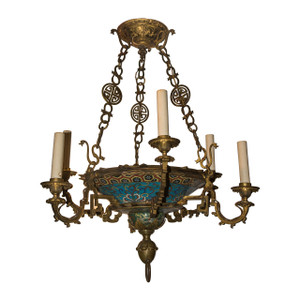 A Rare and Unusual French Japonism Gilt-Bronze Champlevé Enamel Six-Light Chandelier Attributed to E Lelièvre