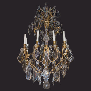 A Fine Quality French Gilt Bronze and Crystal Twelve-Light Chandelier