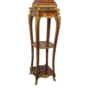 A Fine Quality French Mahogany Marble-Top Pedestal with Ormolu Mounts
