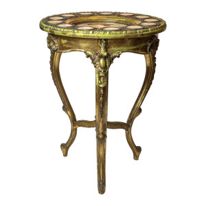 Gilt Wood Circular Table with Hand Painted Royal Vienna Porcelain Plaques signed Ullmann