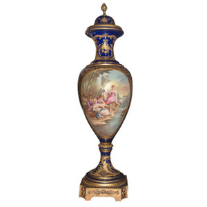 A Magnificent Monumental Gilt Bronze Mounted Sèvres Style Cobalt Blue Ground Porcelain Lidded Vase