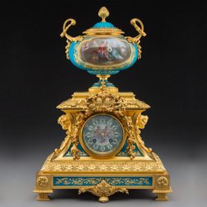 Sèvres-Style Gilt Bronze Mounted Porcelain Mantel Clock