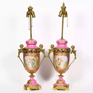 Elegant Pair of Sevres Porcelain Portrait Vases Mounted as Lamps
