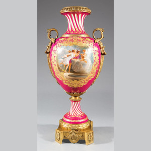 An Elegant Gilt Bronze-Mounted Sèvres-Style Fuchsia Ground Porcelain Urn with Classical Painting