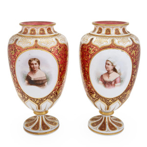 Exquisite Pair of Bohemian Style Gilt-Decorated Opaque White and Ruby Glass Portrait Vases
