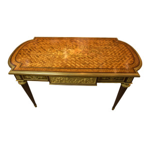 A Gorgeous Louis XVI Style Gilt-Bronze Mounted Marquetry and Parquetry Mahogany Bureau Plat by Henry Dasson
