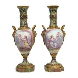 A Stunning Pair of Sèvres-style Porcelain Vases with Bronze and Champlevé Enamel Mounts