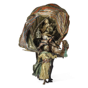 A Fine Cold-Painted Austrian Bronze Figural Lamp and Sculpture of a Traveling Arab Musician by Franz Bergman