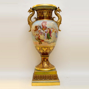 An Exquisite Allegorical Royal Vienna Ormolu Mounted Porcelain Urn with Gilt Bronze Griffin Handles