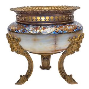 Fine French Ormolu Champleve Enamel and Onyx Centerpiece Bowl