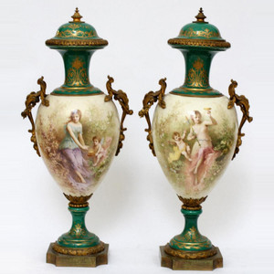 A Fine Pair of Sèvres Style Bronze Mounted Allegorical Porcelain Vases and Covers.
