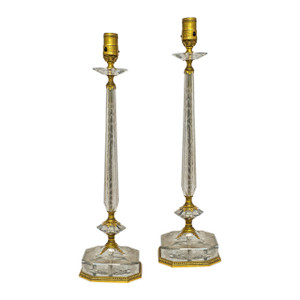Pair of Gilt Bronze and Crystal Table Lamps