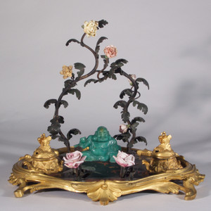 A Finely Casted Louis XV-style Gilt-Bronze and Porcelain Chinoiserie Inkwell