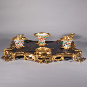 A Fine Louis XV-style Gilt-Bronze and Porcelain Chinoiserie Inkwell