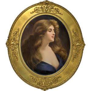 A Fine KPM Porcelain Oval Plaque of Beauty