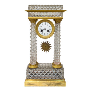 A Fine Charles X Ormolu and Cut-Glass Portico Mantel Clock