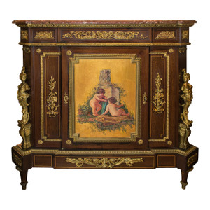 A Fine Quality Gilt Bronze Mounted Mahogany and Vernis Martin Decorated Rouge Marble-Top Cabinet by Béfort Jeune