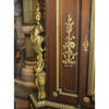 Gilt Bronze Mounted Mahogany and Vernis Martin Decorated Rouge Marble-Top Cabinet