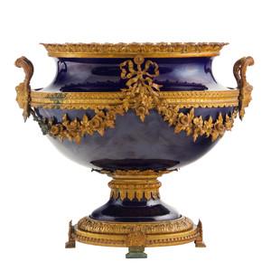 A Fine Quality Ormolu Mounted Cobalt Porcelain Centerpiece